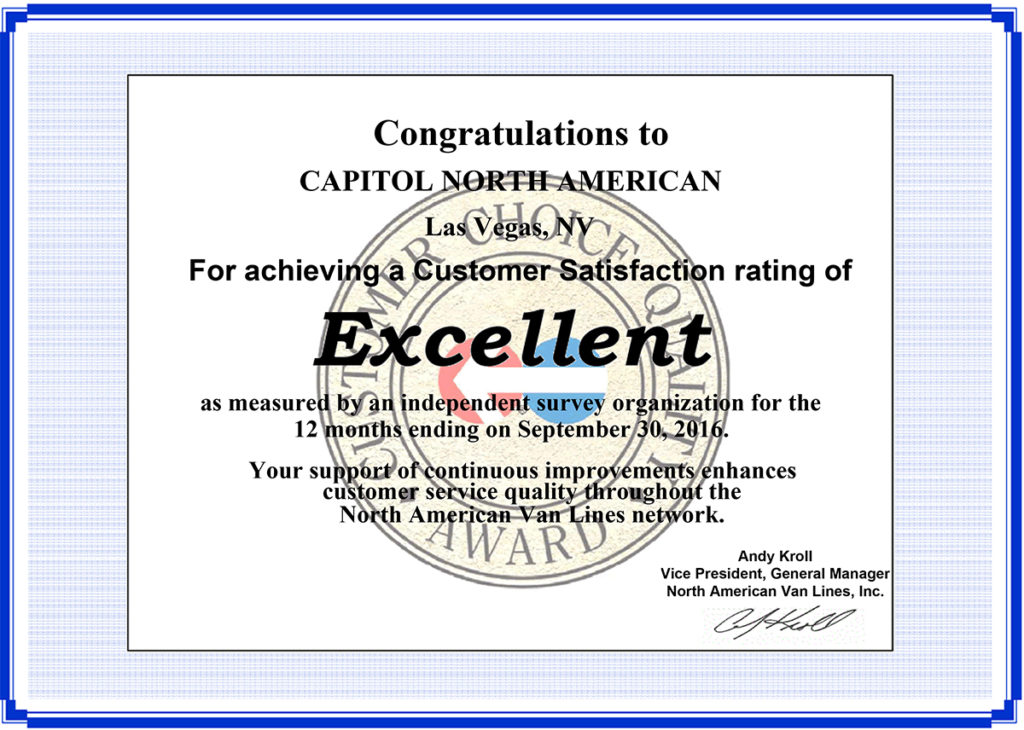 North American Van Lines - Customer Satisfaction rating of Excellent