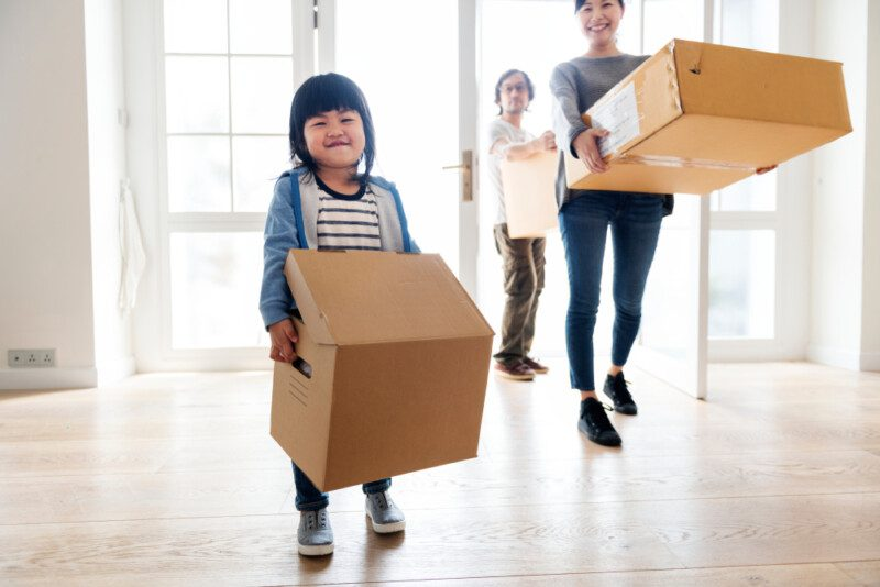 Young family in the process of eco-friendly move