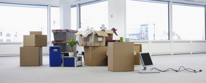 piles of boxes in preparation for moving your office
