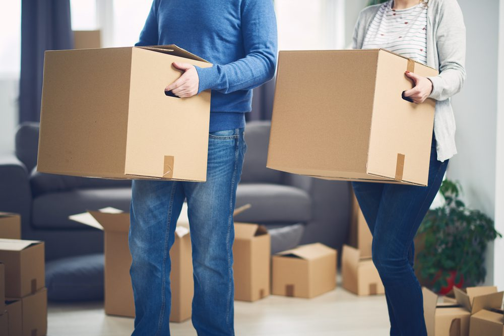 first-time home buyers moving into their new home