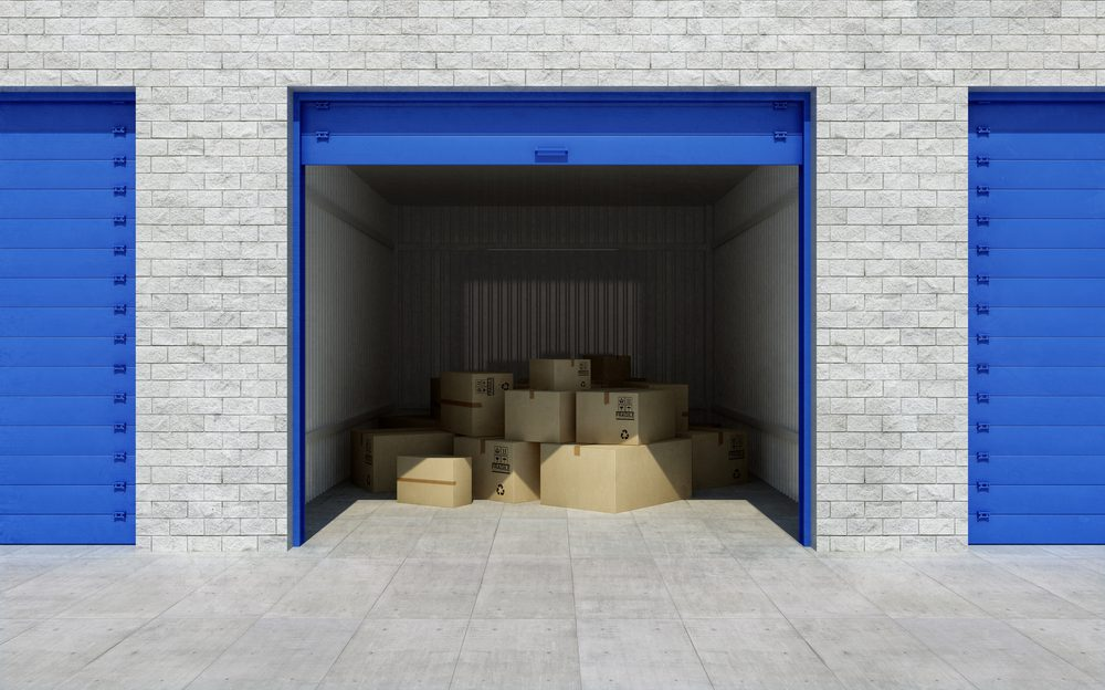 boxes in a self-storage unit